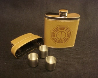 DHARMA LOST Leather Flask with 3 shot glasses - Dharma Symbol, Lost TV Show. Great gift for the Lost Fan!