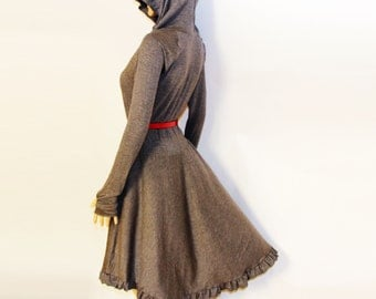 Dress / Hoodie dress /Hooded dress/ Grey Dress/ Casual Dresses