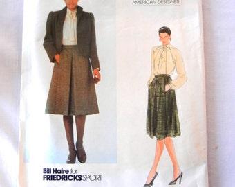 Vogue American Designer Skirt Blouse Jacket Pattern, Bill Haire for Friedricks Sport, Office Wear Size 8 Bust 31.5, Pattern 2766, Uncut