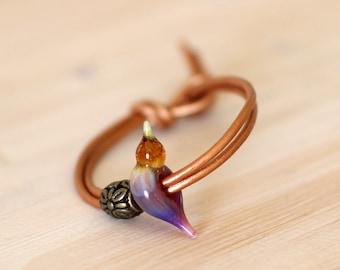 Love bird bracelet, bird bead charm, lampwork glass bead with adjustable leather strap