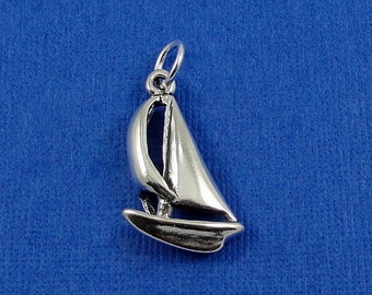 Sailboat Charm - Sterling Silver Sailboat Charm for Necklace or Bracelet