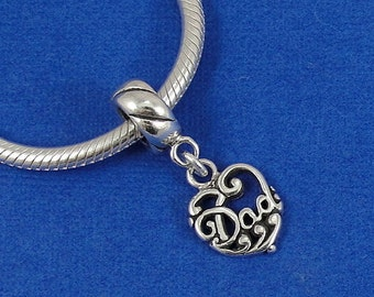 Dad Heart European Dangle Bead Charm - Sterling Silver Filigree Heart Dad Charm for European Bracelet