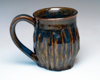 Carved Stoneware Mug in Brown And Blue