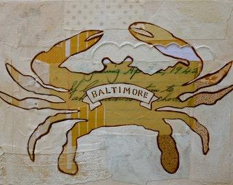 Baltimore Crab Silhouette White 8x10 Print