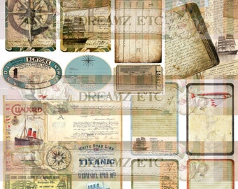 "NEW! Digital Journal Kit ""Vintage Voyage"" Ephemera & 2 Bonus Papers"" , Great for Scrapbooking, Journals, Card Making Projects"