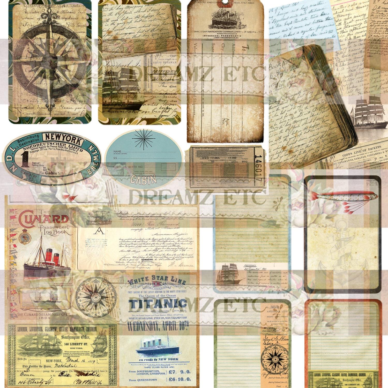 "NEW! Digital Journal Kit ""Vintage Voyage"" Ephemera & 2 ..."