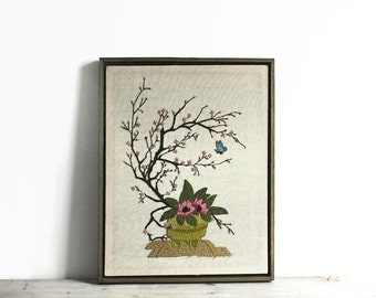 Framed Needlepoint, Vintage Quinella Needlework Framed Cherry Blossom Butterfly Floral