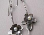 Long, silver flower and leaf earrings; oxidized silver flower botanical earrings; romantic freshwater pearl drop earrings