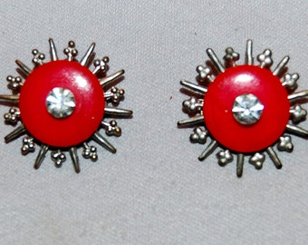 Vintage / Matched / Pair / Brooch / Red / Rhinestones / old / jewelry / jewellery