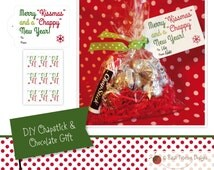 """Instant Download Printable - DIY Gift - """"Merry """"Kissmas"""" and a """"Chappy"""" New Year"""" Gift Tags"""