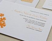 Oak Leaf Wedding Invitation, Digital printed SAMPLE