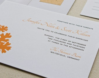 Oak Leaf Wedding Invitation, Digital printed SAMPLE