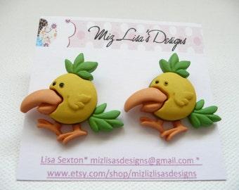 hs-Yellow Large Beak Chick Stud Earrings