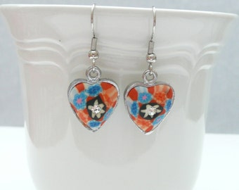 nd-Red White and Blue Clay and Crystal Heart Dangle Earrings