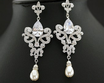 Wedding Chandelier Earrings Long Crystal Bridal Earrings Bridal Jewelry Cubic Zirconia Vintage Style Pearl Drop Earrings, Sahara