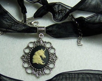 Gothic Unicorn cameo necklace on black ribbon