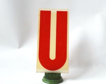 "vintage 1970's industrial marquee sign letter U type acrylic plastic red on white aged 6.5"" tall decorative home decor church typography old"