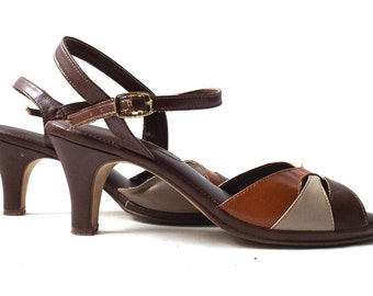 """vintage 1970's womens high heels size 7 shoes strappy ankle strap open toe faux leather brown cream amber taupe orange fashion 3"""" heel retro"""