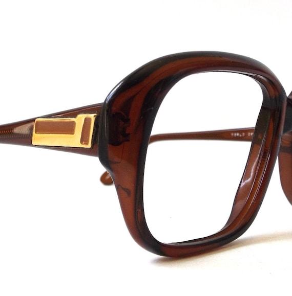 Vintage Eyeglass Frames Prescription Lenses : vintage 1960s eyeglasses prescription brown plastic