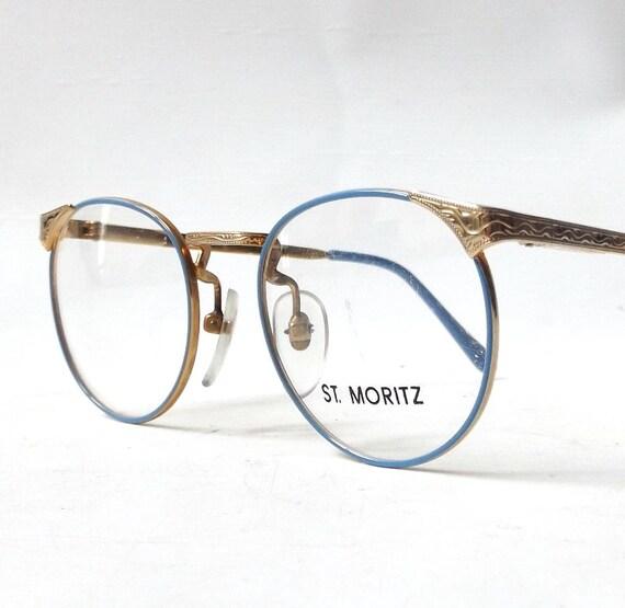 Gold Metal Eyeglass Frames : vintage 1980s NOS st moritz round gold metal eyeglasses