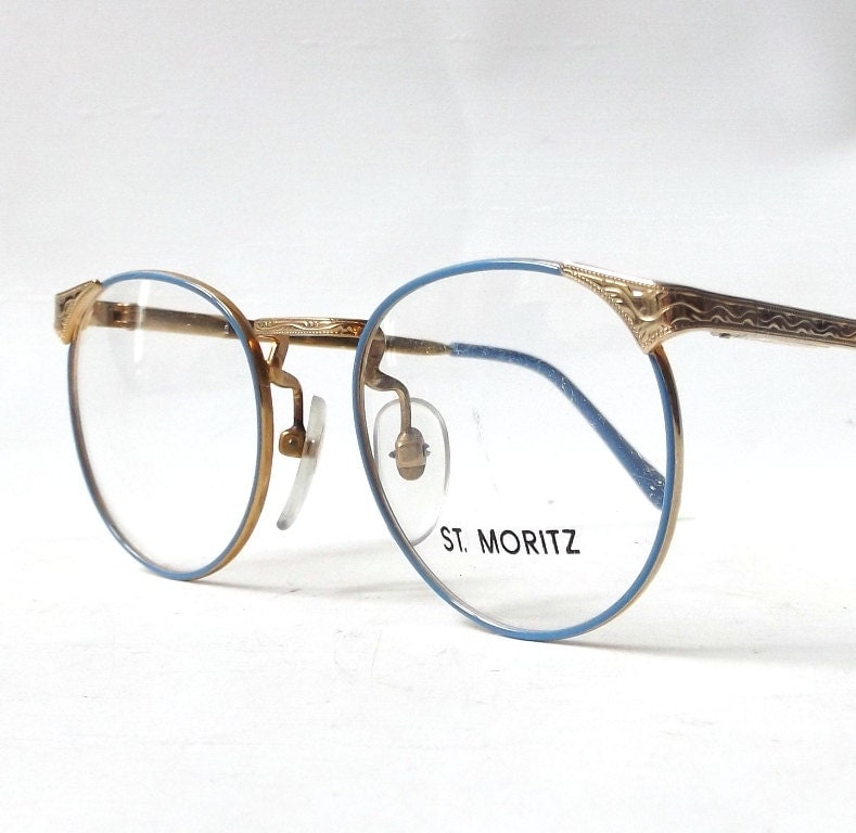 Eyeglass Frames Fairview Heights Il : vintage 1980s NOS st moritz round gold metal eyeglasses