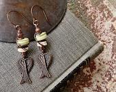 Angels Wings Earrings - Wire Wrapped, Copper, Angel, Angel Wings - Spiritual Jewelry by YaY Jewelry