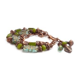 Green Jade & Aqua Bracelet - Multistrand Bohemian Bracelet - Copper Chain Bracelet - Picasso Glass - Gemstone Bracelet - Gift for Her