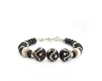 Black & White African Tribal Bracelet - Batik Wood Beads - White Howlite - Picasso Czech Glass - Bohemian Bracelet