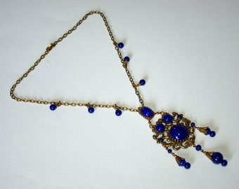 Stunning vintage Czech glass lapis lazuli necklace