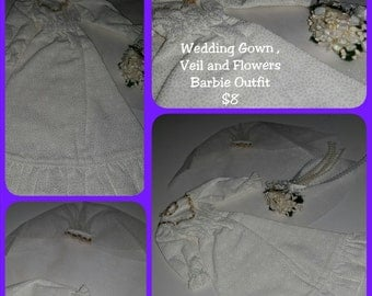 Wedding Gown, Veil and Flowers Barbie Outfit