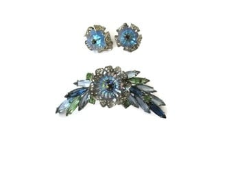 Vintage Rivoli Green Blue Stones Brooch with Clip on Earrings Mid Century Estate Jewelry