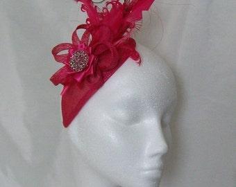 Bright Cerise Fuchsia Pink Rosalind Feather Plume & Pearl Elegant Teardrop Percher Fascinator Mini Hat - Custom Made to Order