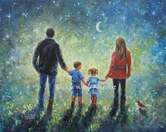 Mom Dad Son Daughter Art Print evening walk, father, mother, brother, little sister,boy, girl, starry night, blue, wall art, Vickie Wade