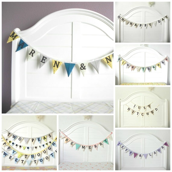 Customized Wedding Sign Photography Prop Bunting Banner Decoration / Vintage and Whimsical Wedding Decor / Wedding Backdrop