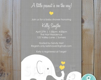 Elephant Baby Shower Invitation / Little Peanut Elephant and Momma / Gender Neutral Design / PRINTABLE  INVITATION / Item 10295