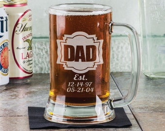 DADDY 16 Oz Gifts for DAD Fathers Day Beer Mug Engraved Father's Day Gift Idea Personalized Glass Etched Father Grandpa Kids Birth Dates
