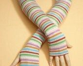 Long Thin Multicolor Armwarmers, Over Elbow Striped Boho Hippie Fingerless Gloves, Tribal, Dance, Tattoo Covers, Ladie's Sleeves Armstulpen