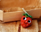 Strawberry felt necklace