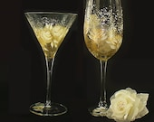 Hand-Painted Barware Set - Abstract Artisan Design Gold and Ivory Roses, Set of 2 EACH Martini and Wine Glasses - 50th Wedding Anniversary