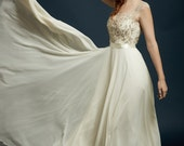 """Stunning Beaded and Embroidered Illusion Neckline and Full Chiffon Circle Skirt, The """"Sterling-Sage"""" (with Evalyn basic bodice)"""