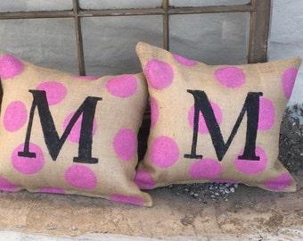 Pink Polkadot Burlap Pillow with Black Initial Porch Decor