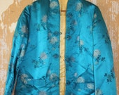 vintage.  Jeweled Blue Chinese Silk Jacket // Reversible // S to M