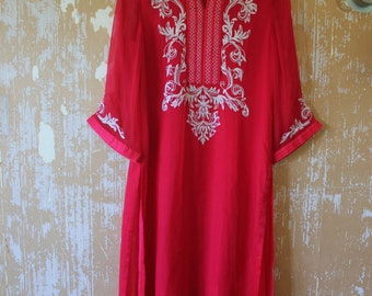 Red Indian Flowy Silk Tunic Vintage Tunic • Indian Red Blouse• Free Size Tunic • Bohemian Blue Top • Boho Tunic • Silk  Tunic