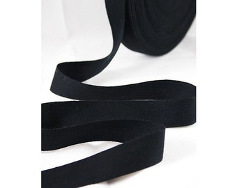 3/4 inch Wide Black Cotton Twill Tape, Black Cotton Twill Tape , THIN-WEIGHT Natural Cotton Tape for Crafting, Sewing, Stamping, Waterproof