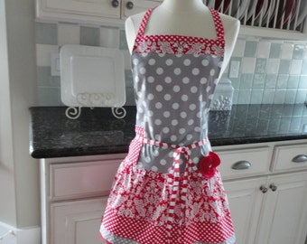 Cherry Jubillee in Red Damask  -  Ellie Style Women's Apron ~ 4RetroSisters