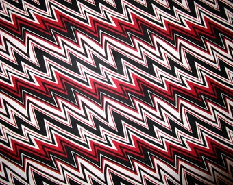 3 yards of Red, White and Black Zig-Zag Fabric!
