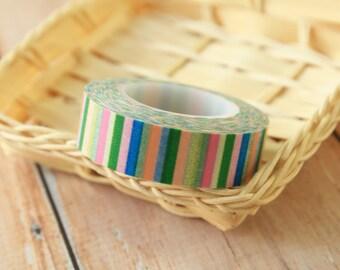MIX COLOR candy stripes japanese washi masking tape