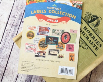 Refill E Vintage Labels Collection stickers set