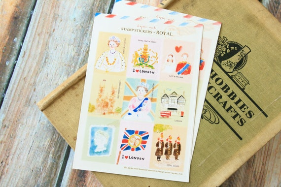 L'apres-midi ROYAL the queen cartoon Postage Stamps scrapbooking stickers