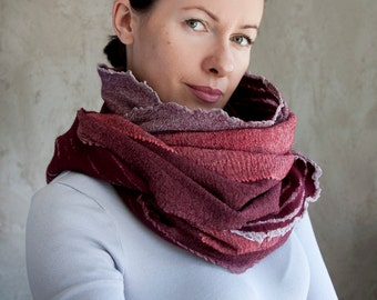 Vine red ombre scarf felted cowl women neck warmer marsala merino wool hood spring scarf cotton infinity cowl loop scarf handmade to order